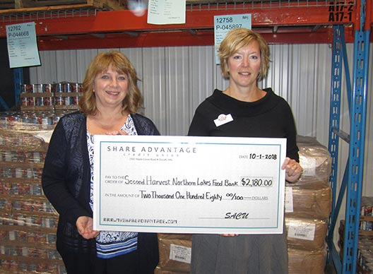 Second Harvest Northern Lakes Food Bank Duluth Minnesota Share Advantage Credit Union Member donation match 2018
